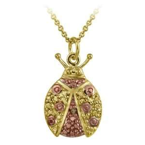 Gold over Silver Champagne Diamond Accent Ladybug Pendant Jewelry