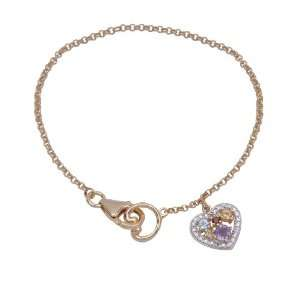 Gold Plated Sterling Silver Multi Gemstone and Diamond Heart Charm