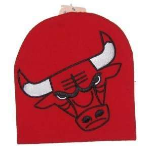 Chicago Bulls Large Logo Knit Beanie Hat: Sports