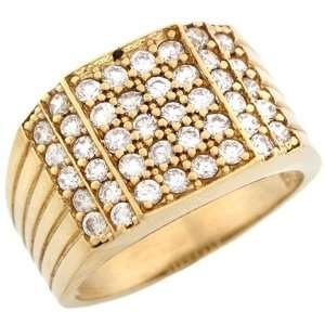 10k Gold 8 Row CZ Cluster High Polish Fancy Mens Ring Jewelry