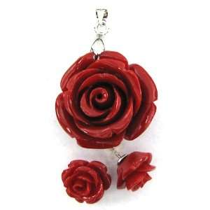 24mm coral carved rose flower pendant earring pair red