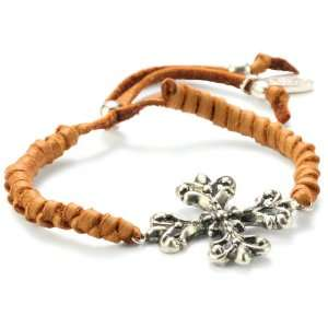 Adjustable Rust Deerskin Leather Bracelet With Flower Cross Charm
