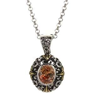 Gold Plated Champagne Cubic Zirconia Antiqued Pendant, 18 Jewelry