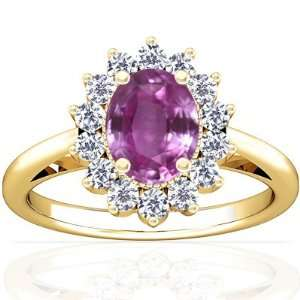14K Yellow Gold Oval Cut Pink Sapphire Ring With Sidestones Jewelry