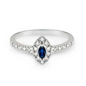 White Gold Engagement Ring with Marquise Cut Sapphire and Round Cut