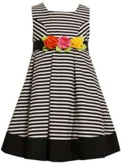 Bonnie Jean Girls 7 16 Stripe Dress with Satin Roses