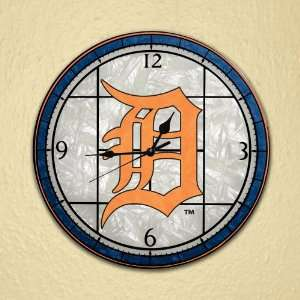MLB Detroit Tigers Stained Glass Wall Clock
