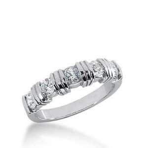 18K Gold Diamond Anniversary Wedding Ring 5 Round Brilliant Diamonds 0