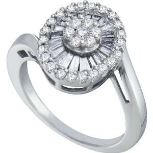 14KWG .81CT Diamond Flower Ring with Round Diamond Cluster