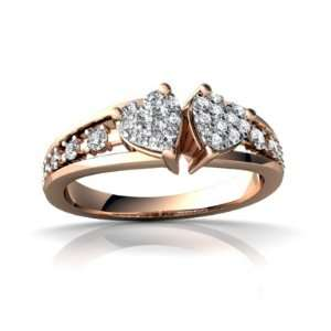 14k Rose Gold White Diamond Heart to Heart Ring Size 4.5 Jewelry
