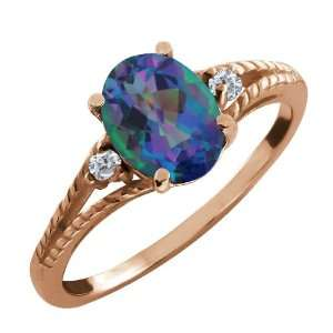 34 Ct Oval Millenium Blue Mystic Quartz and Diamond 18k Rose Gold Ring
