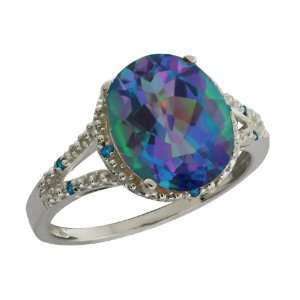 Ct Oval Millenium Blue Mystic Quartz and Diamond Argentium Silver Ring