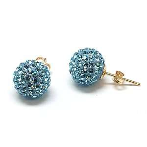 9ct Yellow 9mm Blue Glitter Disco Ball Crystal Earrings Jewelry