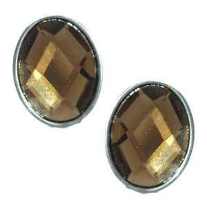 Qiana Silver Amber Crystal Clip On Earrings Jewelry