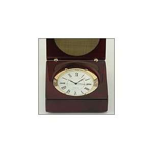 Wood Box with Clock & Engraving Plate, Black or Rosewood