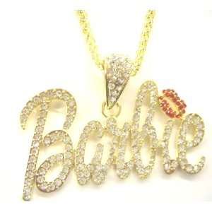 Iced Out BARBIE Iced Out Necklace Gold Clear Red Lips