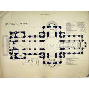 1892 GROUND FLOOR PLAN ST PAULS CATHEDRAL NAVE CHOIR