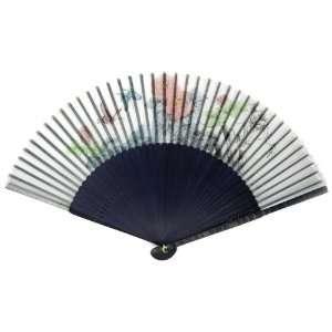 Flower Blue Bamboo Wood Oriental Silk Folding Fan