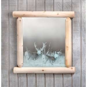 ® Etched Deer Mirror with Log Frame