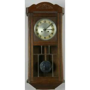 Vintage German Deco Regulator Wall Clock Leaded Glass