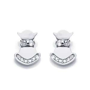 14K White Gold Plated Sterling Silver Kitty CZ Stud Screw