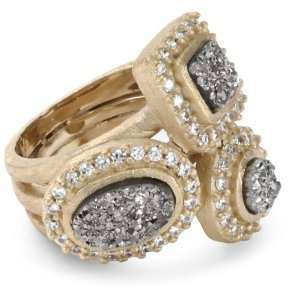Moran 18k Gold Plated Titanium and Cubic Zirconia Adjust Ring Jewelry