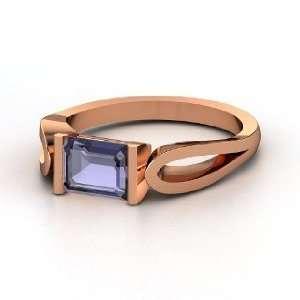 Loop de Loop Ring, Emerald Cut Iolite 14K Rose Gold Ring Jewelry