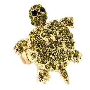 Large Gold Tone Green Crystal Turtle Tortoise Adjustable Stretch