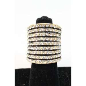 eli k GOLD PLATE & CLEAR CRYSTALS LONG ARC FAUX STACKED STRETCH RING