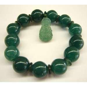 com Fashion Jewelry ~ Kuan Yin Green Jade Stone Bracelet (Bring Good