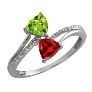 1.02 Ct Trillion Green Peridot and Red Garnet 14k White