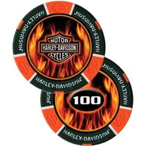 Harley Davidson Flame Poker Chip Orange   Sleeve of 25