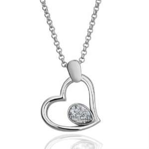 White Gold Swarovski Elements Heart Shaped 18k Gold Plated Necklace