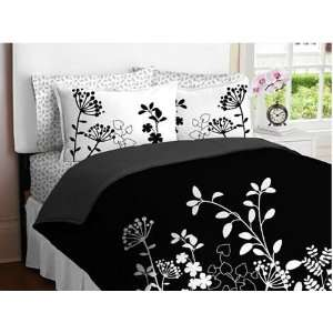 White Flower Girls TWIN Comforter Set Bed in a Bag Set