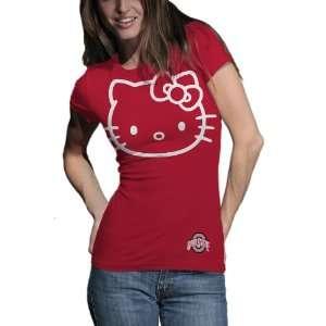 NCAA Ohio State Buckeyes Hello Kitty Inverse Junior Crew Tee Shirt