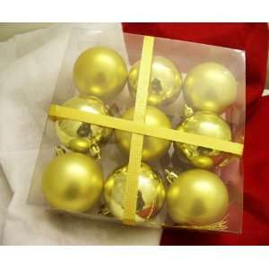 Set of 9 Christmas Tree Decoration Ball Ornaments   Gold
