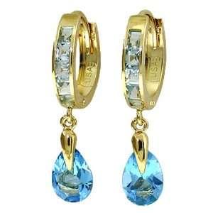 Genuine Dangle Pear Blue Topaz 14k Gold Hoop Huggie Earrings Jewelry