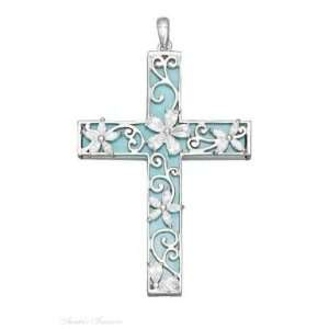 Necklace With Large Turquoise Cubic Zirconia Filigree Cross Pendant