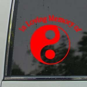 In Loving Memory Yin Yang Red Decal Truck Window Red