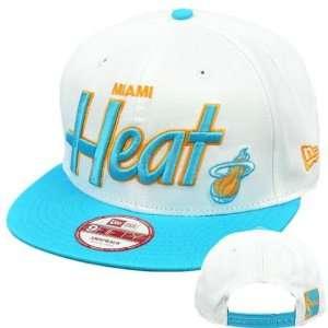Snapback Hat Cap Flat Bill NBA Miami Heat White