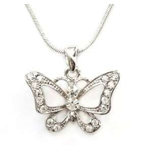 Crystal Rhinestones Butterfly Charm Pendant Necklace Fashion Jewelry