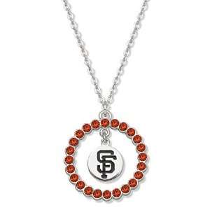 MLB San Francisco Giants Necklace Orange Crystal Wreath