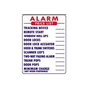 ALARM PRICE LIST 24x18 Heavy Duty Indoor/Outdoor