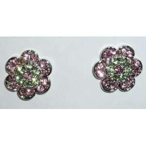 Pink & Light Green Crystal Flower Pierced Earrings Jewelry