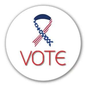 Vote Pinback Button in Ribbon Flag Design (Pack of 6)   2