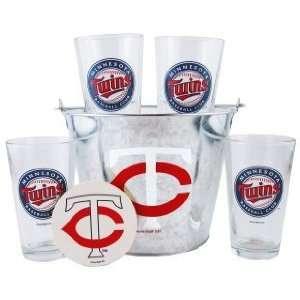 Minnesota Twins Pint Glasses and Beer Bucket Set  MLB Minnesota Twins