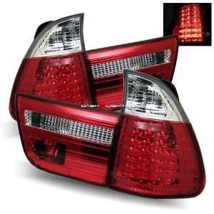 00 05 BMW E53 X5 LED Tail Lights   Red Clear Automotive
