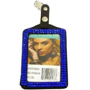 Rhinestone Crystal Bling Vertical Badge Holder (Blue)