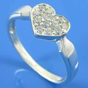 Grams 925 Sterling Silver Heart Valentine Gift Cz White Gemstone Ring