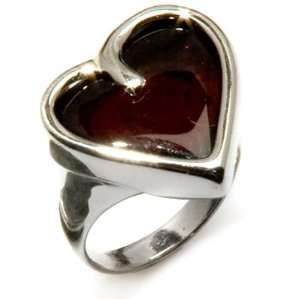 Baltic Cherry Amber and Sterling Silver Large Heart Ring Sizes 5,6,7,8